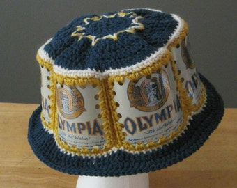 Crocheted Beer Can Hat - Olympia