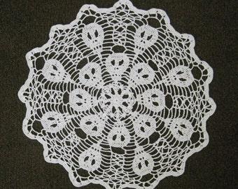 Crocheted 16.5 Inch Halloween Doily - Scary Skulls