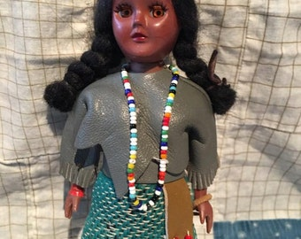 Vintage 1950's Native American Souvenir Doll, Collectible Doll, sleepy eyes
