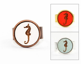 Rhino Ring - Laser Cut Wood in Adjustable Setting (Choose Your Color / Made To Order)
