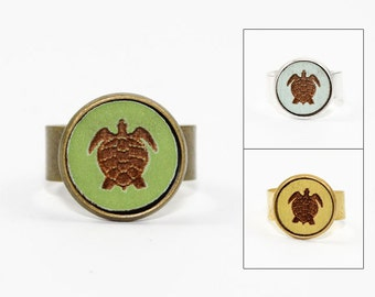 Sea Turtle Ring - Laser Cut Wood in Adjustable Setting (Choose Your Color / Made To Order)