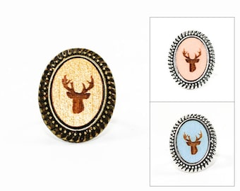 Deer Head Ring - Laser Engraved Wood in Adjustable Oval Setting (choose your color / custom made jewelry)