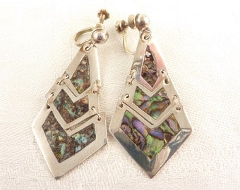 Vintage Geometric Link Mexican Sterling Abalone Inlay Screw Back Earrings