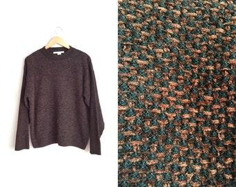 SALE // Size M/L // THRASHED KNIT Sweater // Grunge - Dark Brown & Black - Oversized Pullover - Vintage '80s.