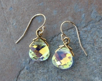 Aurora Borealis Crystal Gold Earrings - yellow briolette crystal - color changing Swarovski crystals - free shipping in USA