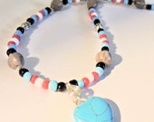 Heart Necklace, Corn Bead Necklace, Seed Bead Jewelry, Turquoise Jewelry, Handcrafted Jewelry, Valentine Jewelry, Native Style Jewelry