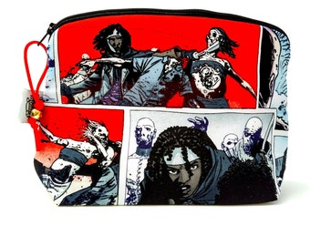 Zippered NOTIONS BAG with zipper pull -   Walking Dead Michonne