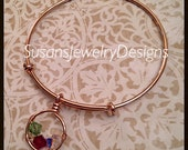 Family Nest Expandable Bangle Bracelet - choice of bracelet metal color - choice of Swarovski crystals - yellow gold - rose gold - sterling