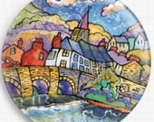 Needle Minder - Licensed Art, Dorian Davies Spencer, Needle Minder Cross Stitch Keeper, Fridge Magnet, Crickhowell Bridge, Magnet