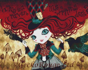 Hatter cross stitch, modern art cross stitch, Sandra Vargas, Mad Riddle, Counted cross-stitch kit, Needlecraft Kit, DMC materials,