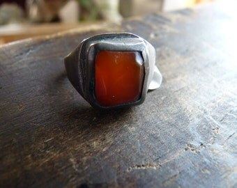 Antique coin silver ring with carnelian