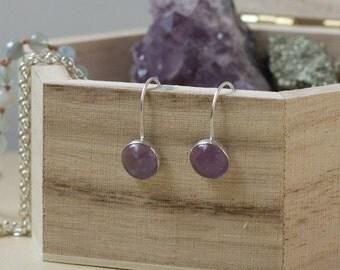 Amethyst Gemstone Earrings. Beaded Semi-Precious Stones, Purple, Sterling Silver, Circle, Drop
