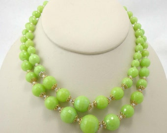 Bead Necklace Vintage West Germany 1950s Green Iridescence Double Strand 716