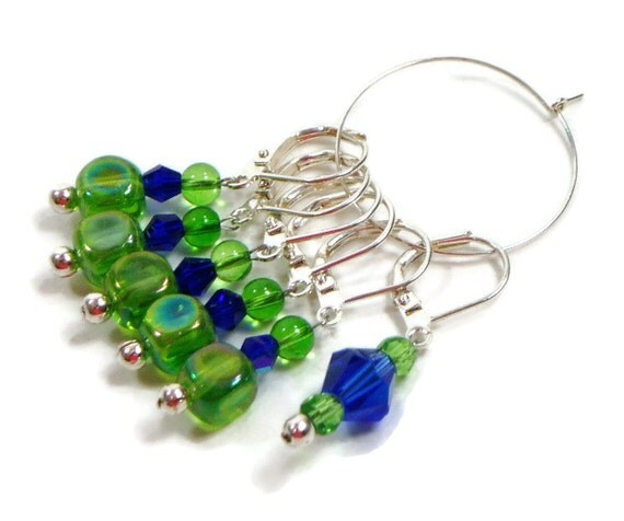 Knitting Locking Stitch Markers : Locking Removable Stitch Markers Crochet Beaded Green Cobalt