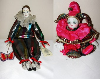 Pair of Porcelain Harlequin Dolls