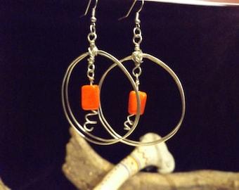 Silver Double Hoop Earrings, Hoop Earrings, Red BeadEarrings Native American Jewelry