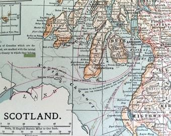 1903 Antique Map of Scotland