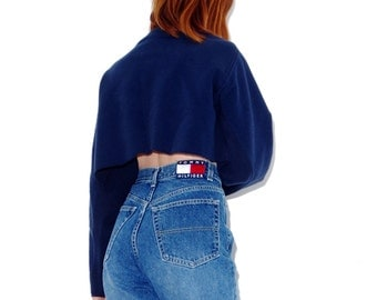 TOMMY HILFIGER jeans High Waisted Jeans // Giant logo waistband / tommy jeans 90s jeans mom jeans boyfriend jeans skinny jeans 90s clothing