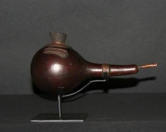 African Kuba Gourd Copper Smoking Pipe - Congo DRC