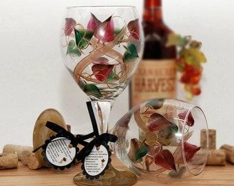 Autumn Vines, vineyard vines, autumn wedding, festive wine glass, christmas table decor, woodland wedding, painted wine glass, holiday wine