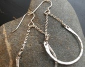 Fine silver drop earrings with rounded hammered bar