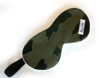 Larger Scale Sleep Mask in Camo, Brown Paisley Print, Denim