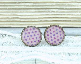Polka Dot Earrings Pink And Purple Earrings Polk Dot Studs Retro Earrings Polka Dot Jewelry