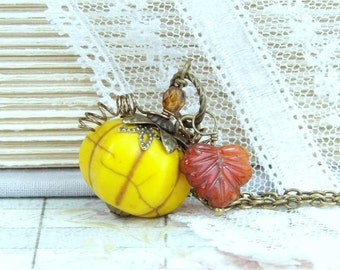 Pumpkin Necklace Halloween Necklace Pumpkin Jewelry Autumn Necklace Thanksgiving Fall Necklace Pumpkin Pendant