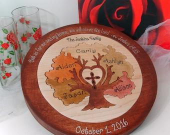 Custom Designed Family Tree w/ Cross Unity Ceremony Wedding Puzzle Unity Ceremony Alternative  Personalized Blended Family Wedding Gift