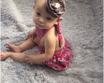 Cotton ruffle bum romper and floral headband ON SALE...Ruffle romper..baby girl clothes...romper... Hospital outfit
