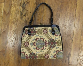 1960's Handbag / Vintage Tapestry Purse / Patent Leather and Brocade Accessories / Reversible Purse