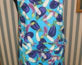 Simply Sheila apron turquoise with eggplants print