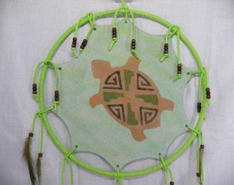Hand Painted Turtle Mandala Native American Made