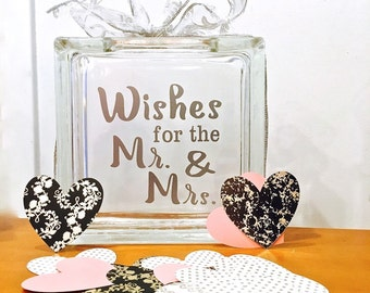 """Wedding Guest Book - Alternative - Glass Block with """"Wishes for the Mr. & Mrs."""" - Personalized for Free - Paper Hearts in Blush Pink Metals"""
