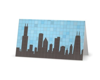 Chicago Skyline Mosaic Card with Lime Green Envelope