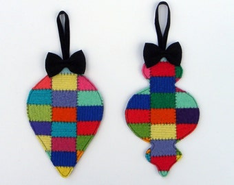 Rescued Wool Patchwork Ornaments - Limited Edition Set of 2