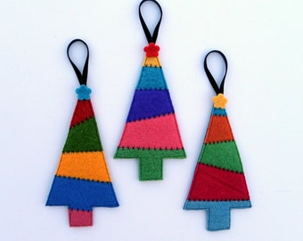Rescued Wool Ornaments - Patchwork Sweater Christmas Trees - Set of 3