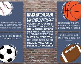 Sports Decor, Motivating Sports Quote, Motivating Sports Set, DIGITAL, YOU PRINT, Boys Sports Decor,Sports Playroom Decor,Sports Birthday