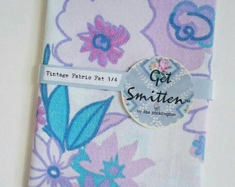 Turquoise, Aqua, Purple & Lilac Bold Retro Tropical Floral English Vintage Fabric Fat Quarter