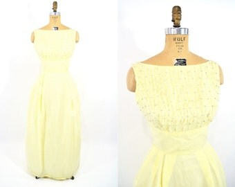 """1960s dress vintage 60s yellow long yellow prom gown S/M W 28"""""""
