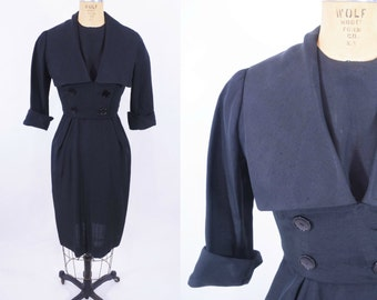 1950s dress vintage 50s black large collar jacket dress set S W 26""