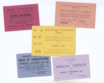 Vintage Brightly Coloured Tickets | Australian Dance, Dinner, Tennis Ephemera | 5 Individual Pieces for Crafting 1930s  40's 50's