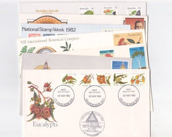 Lot of 7 Vintage Envelopes / Covers from Australia Stamped & Postmarked 1970's / 1980s