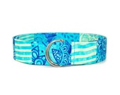 Blue and Green Fabric Belt in Custom Sizes Small Medium Large Preppy D Rings Women's Belt  1.5 inch Width
