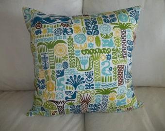 """Tiki Style 18"""" x 18"""" Pillow Cover Organic Cotton Retro Beach Decor"""