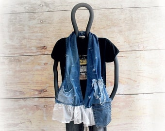 Shabby Scarf Distressed Denim Vintage Lace Boho Clothing Cottage Chic Bohemian Accessories Rustic Scarf Women's Chic Clothes 'LOTTIE'