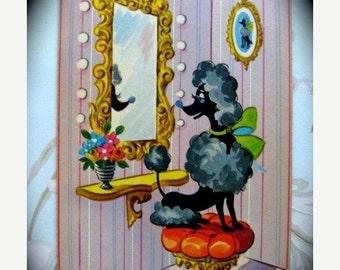 BIG SALE Vintage  Black French Poodle Vanity Art Deco Playing Cards
