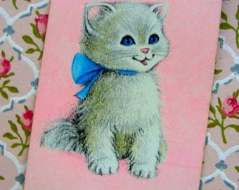 Vintage Adorable Kitsch Kitten Cat Pink Playing Cards for Altered Art and Collage