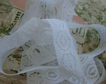 Vintage French White Soft and Delicate Netted Lace Yardage