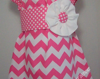 Pink Chevron with Sash Peasant Top/Dress size 6m-5T